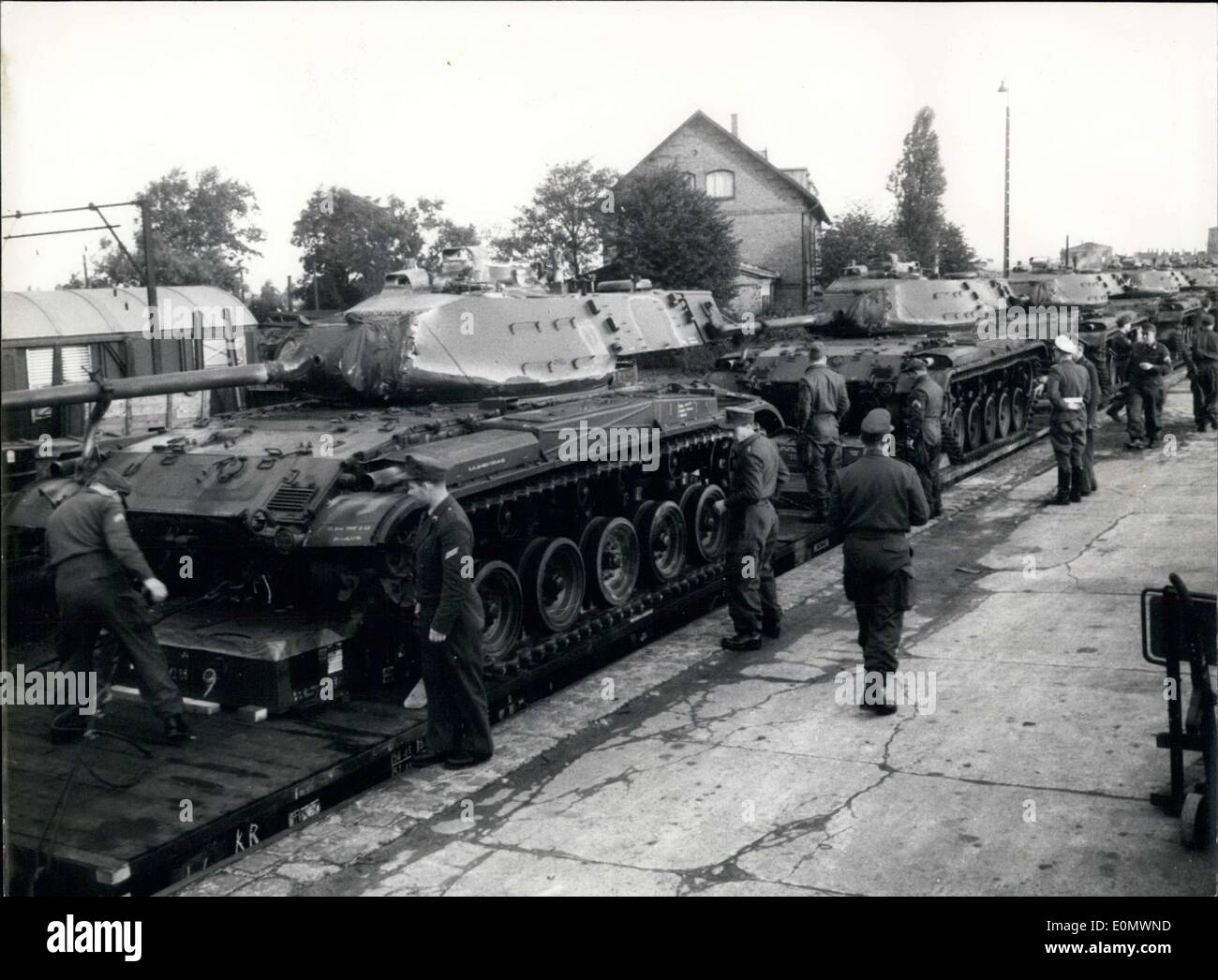 Oct. 01, 1956 - 17 Panzers, Type M 41, arrived in Neum?nster, Germany. They were stationed there. - Stock Image