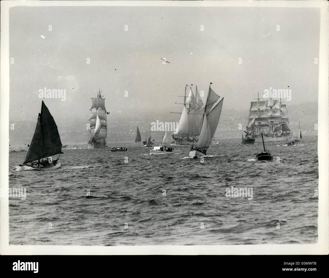 Jul. 07, 1956 - Twenty-Two Sailing Craft Begin Their 800-Miles Race From Torbay To Lisbon.: Twenty-two sailing vessels of all nations took part in the sail training Ship International Race From Torbay to Lisbon which began yesterday. Photo Shows general view of some of the various sailing vessels seen soon after the start of the race. - Stock Image