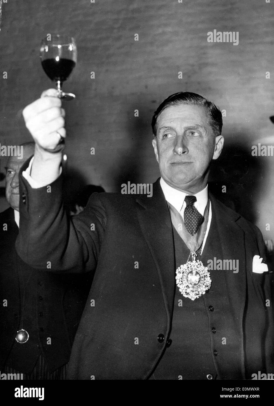 Lord Mayor Cuthbert Ackroyd at a wine tasting - Stock Image