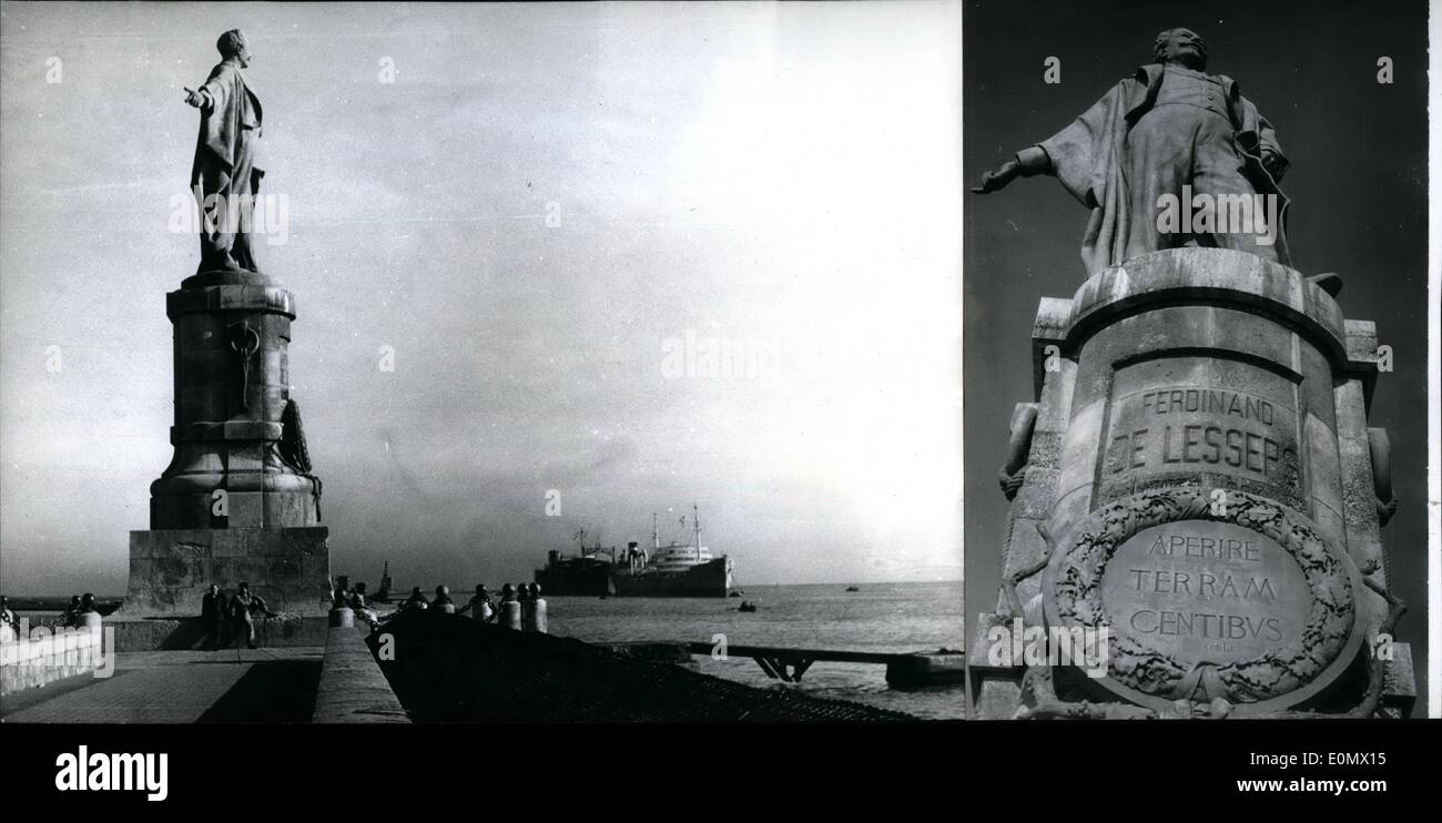 Oct. 10, 1956 - The memory of Ferdinand Lesseps the constructor of the Suez Channel has to be removed from the Egyptians mind, was decided recently by the Egyptian government, and the monument, which marked the Suez Channel; was removed too. Instead it there was erected a monument of an unknown channel worker. Photo shows the Lesseps-monument near Port Siad. - Stock Image