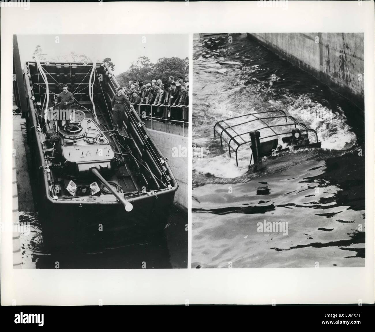 Oct. 10, 1956 - Land Warfare takes to water: Representatives of many foreign armies, including those from Russia and Germany, saw a recent demonstration at the British Ministry of Supply's Fighting Vehicles Research and Development Establishment in Surrey, England. Photo shows left: 50-ton Centurion tank plunges into a wading pit and begins to float. It has a collapsible waterproof screen around the top surfaces so that turret lids can be left open - Stock Image