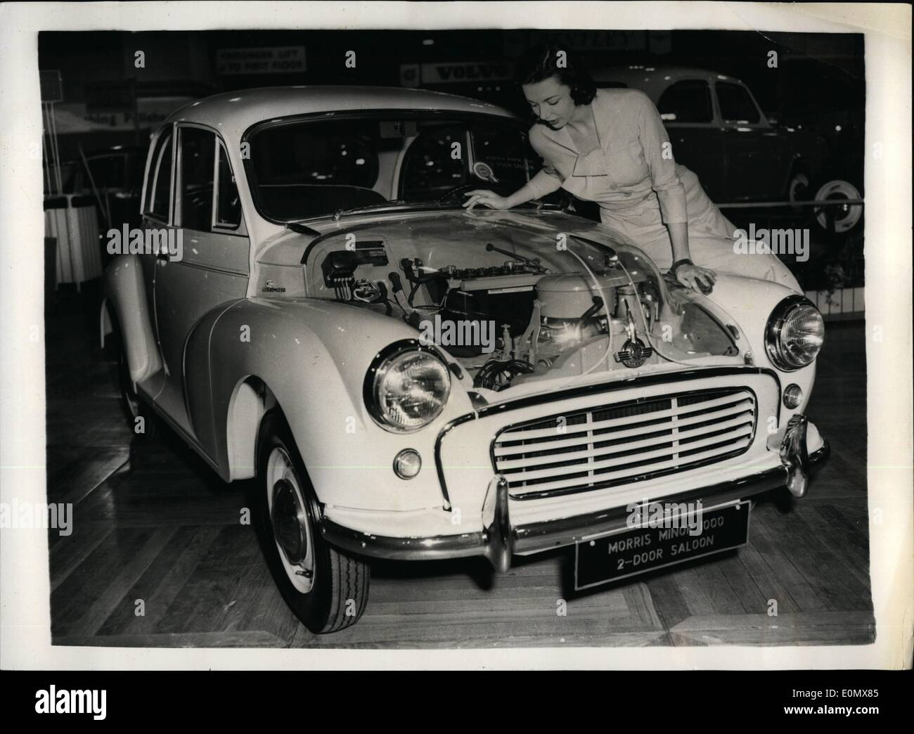 Oct. 10, 1956 - PREVIEW OF THE EARLS COURT MOTOR SHOW. THE NEW MORRIS MINOR.. hoto Shows:- Model Jinja Blakeley Stock Photo