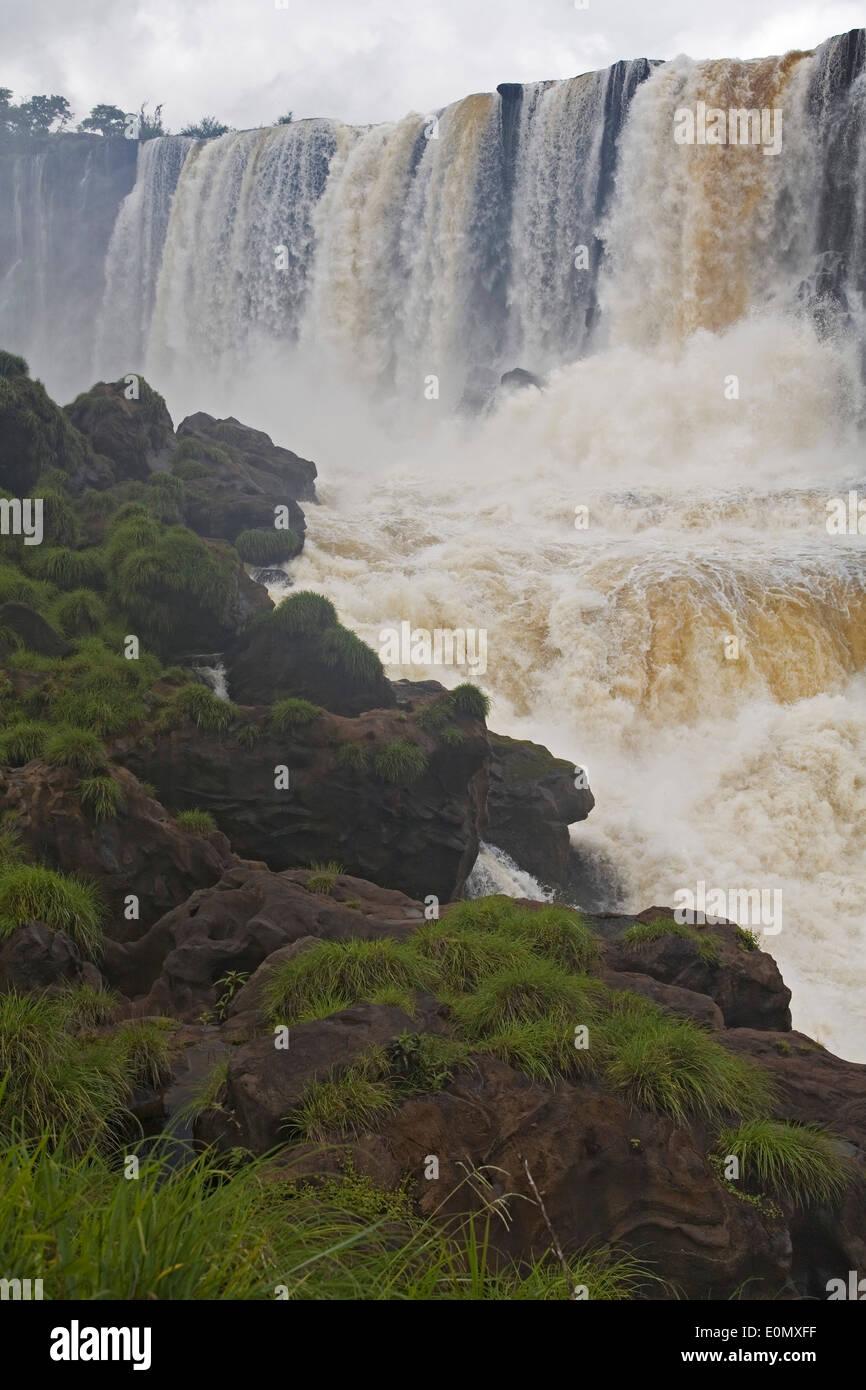 Salto San Martin/San Martin Waterfalls from San Martin Island, Iguazu National Park, Argentina - Stock Image