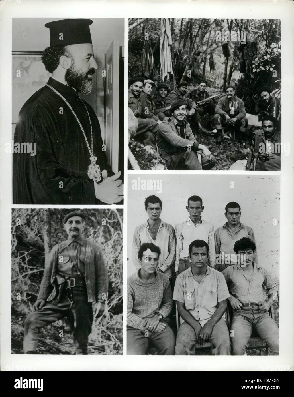 Oct. 10, 1956 - Terrorism in Cyprus: This summer the counter-terrorist forces in Cyprus captured a large number of documents, photographs and other equipment belonging to the terrorist organization EOKA (Ethniki Organosis Kyprion Agoniston - National Organization of Cypriot Combatants). A small fraction of these has been reprinted in a recently published booklet under the title of Terrorism in Cyprus. Here are some of the illustrations from the booklet. Photo shows Terrorists - Stock Image