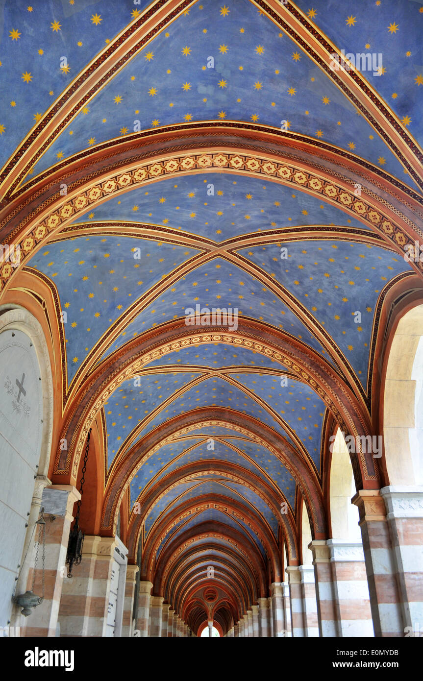 archway church ceiling painted with stars - Stock Image