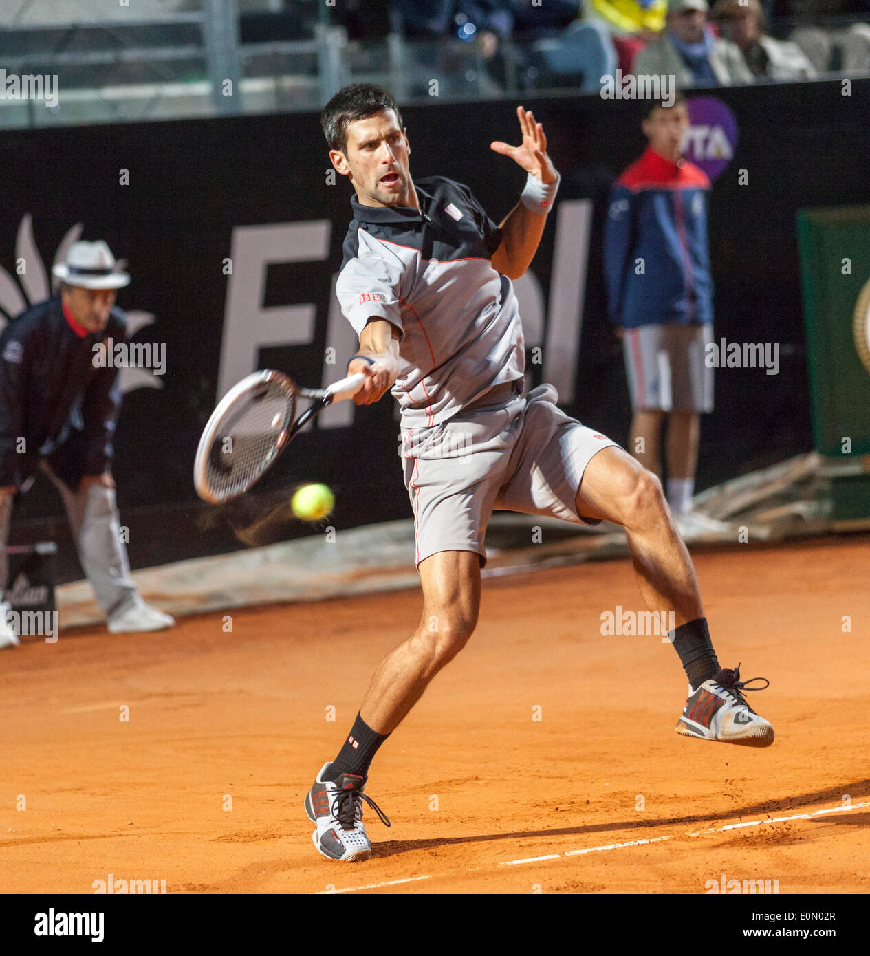 Novak Djokovic vs Phillip Kohlscheiber at the Rome ATP Tennis International 2014 - Stock Image