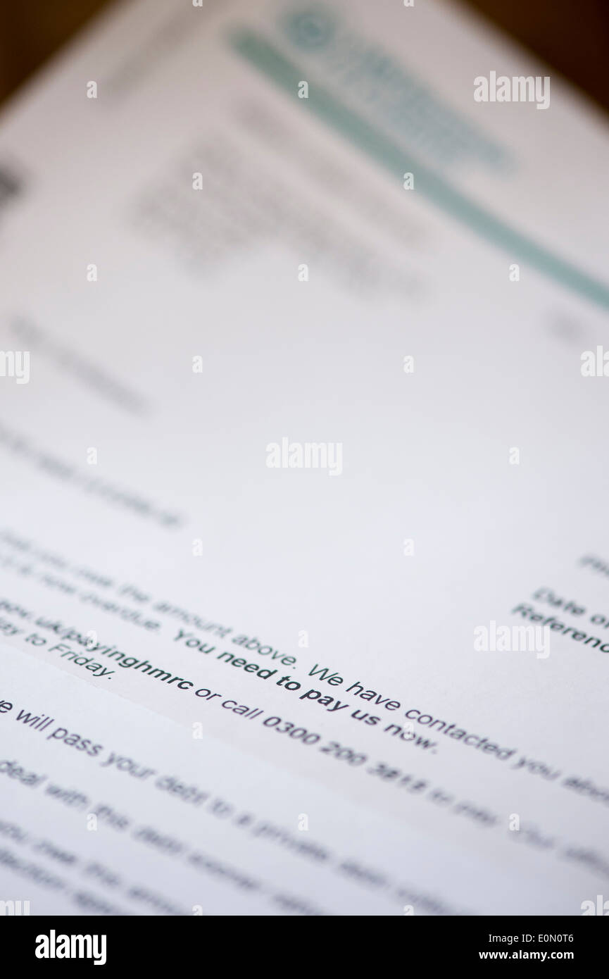 HMRC final payment letter showing YOU NEED TO PAY US now demand - Stock Image