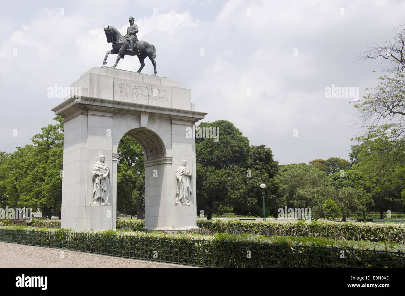 Victoria Memorial garden from south with statue of Wdwards VII, Kolkata, West Bengal, India Stock Photo