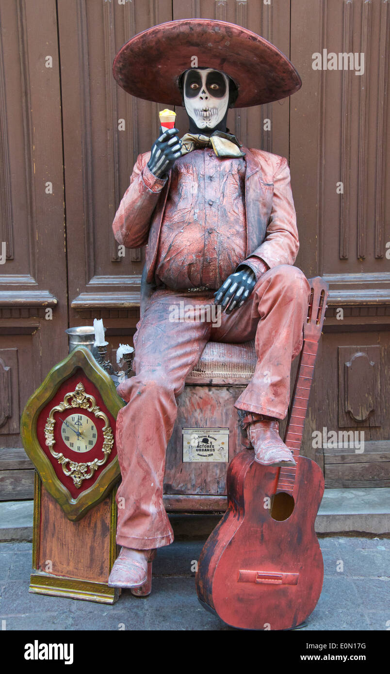 Mexican street mime artist with made up face Guanajuato Mexico - Stock Image