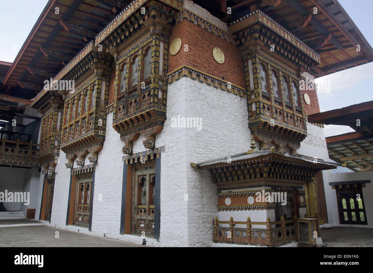 Inside view of Punakha Dzong, Punakha, Bhutan - Stock Image