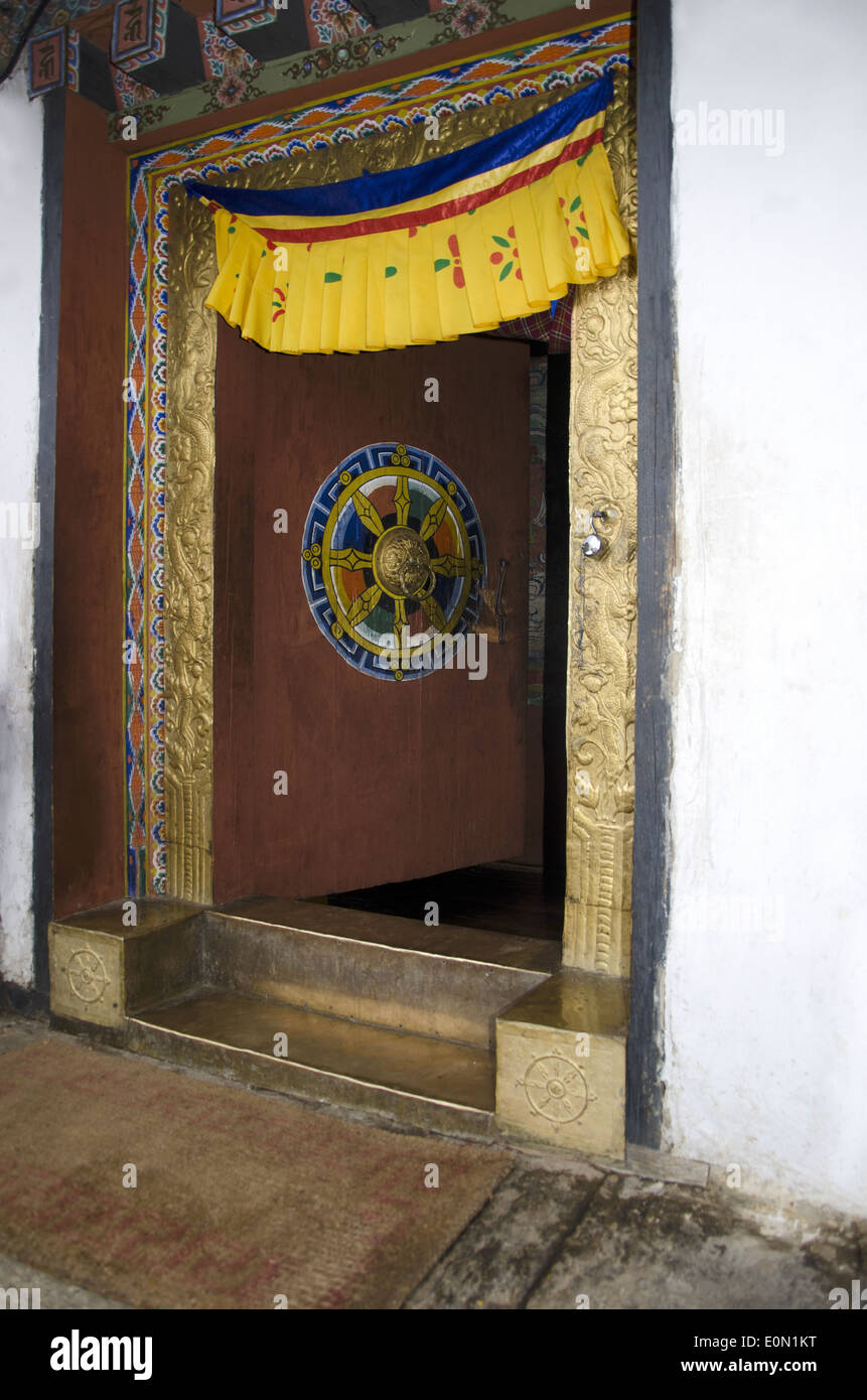 A door of  Punakha Dzong, Punakha, Bhutan - Stock Image