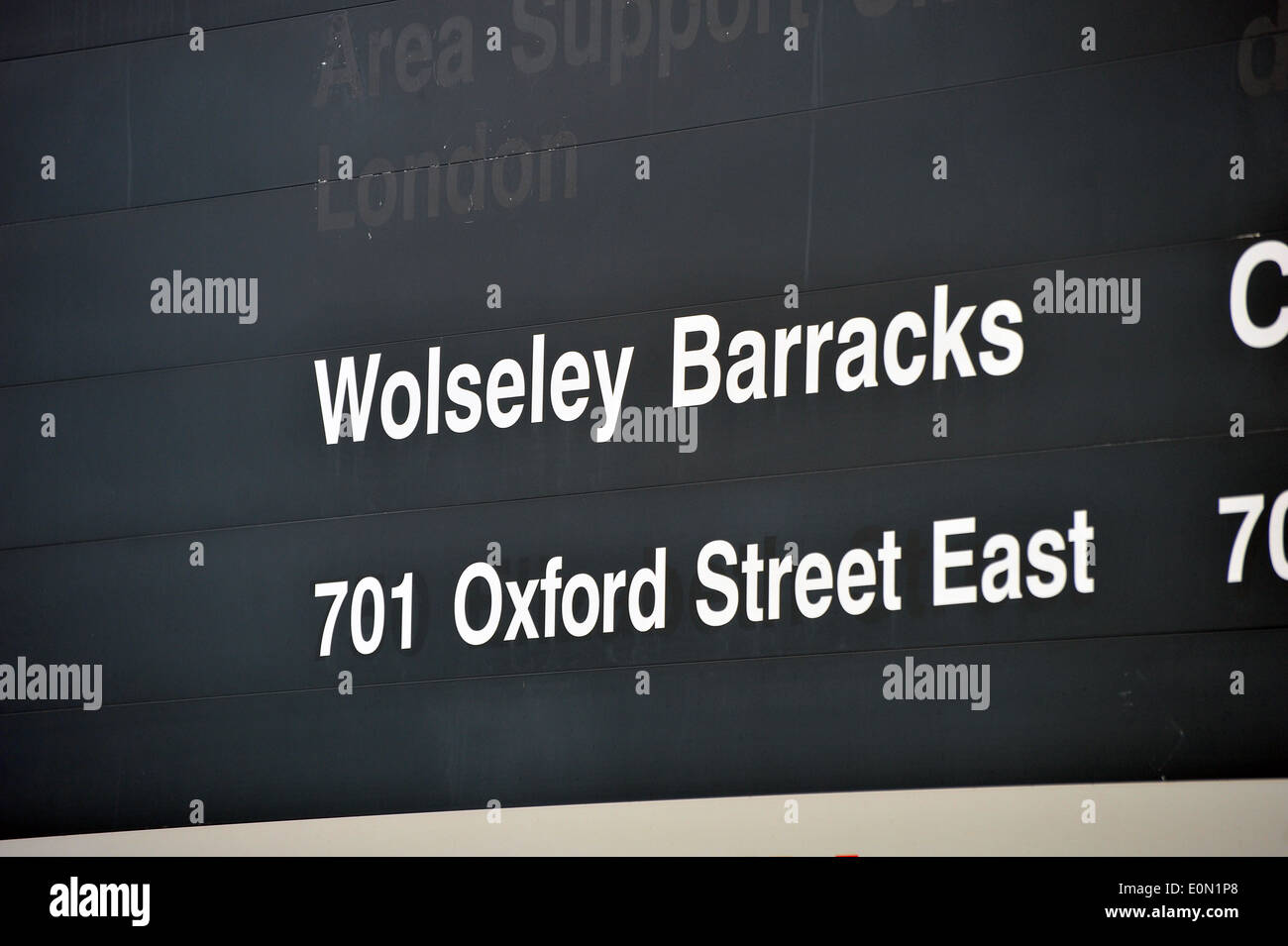 The entrance sign to Wolseley Barracks military base in London, Ontario Canada. - Stock Image