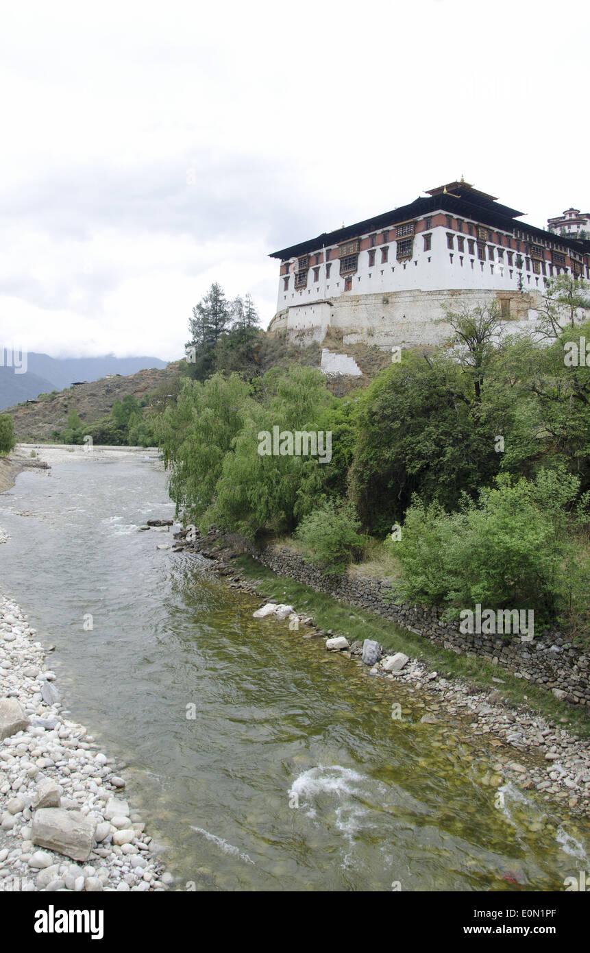 A view of Rinpung Dzong, Drukpa Kagyu Buddhist monastery, Paro, Bhutan - Stock Image