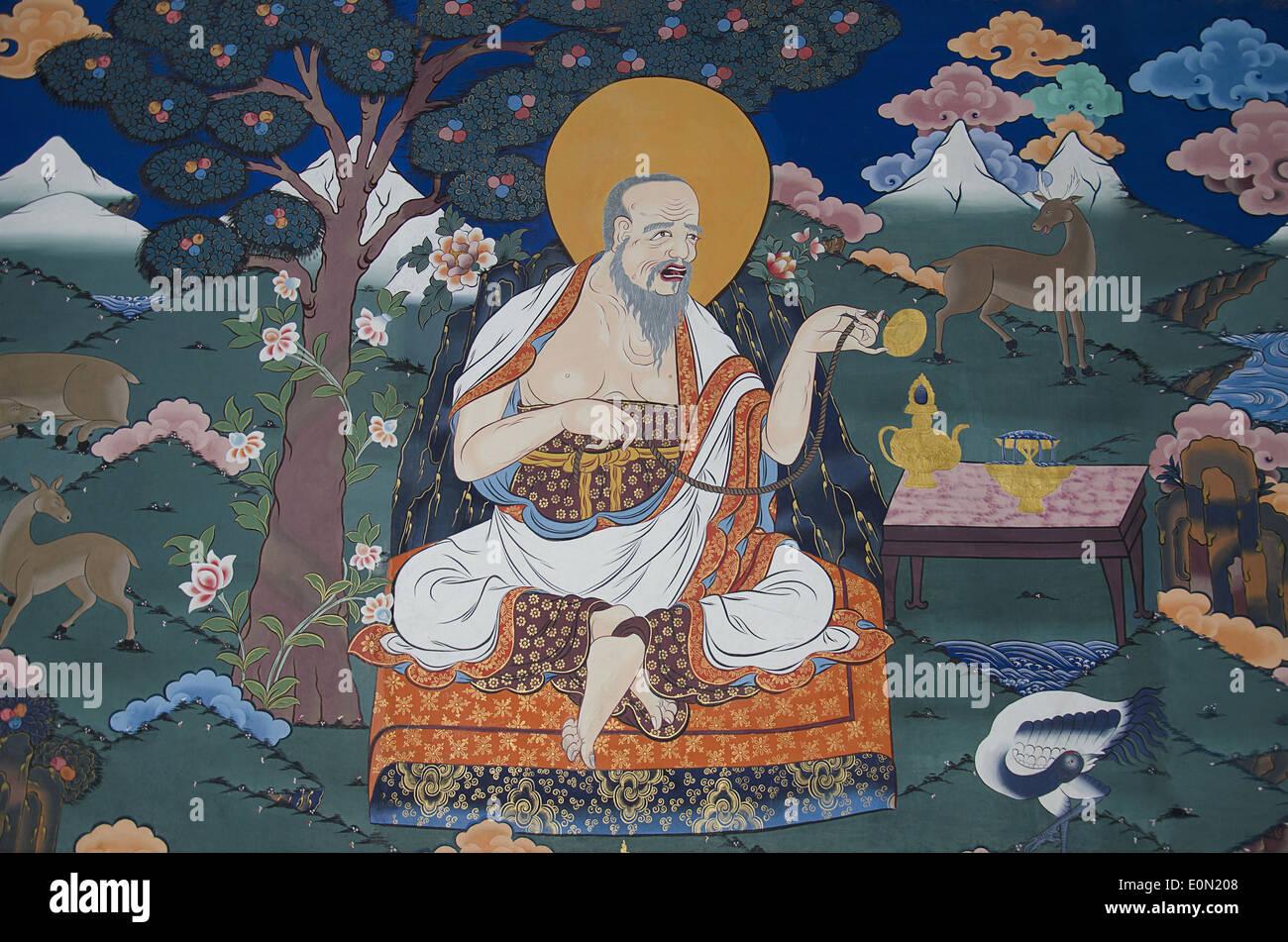 A wall painting inside the Rinpung Dzong, Drukpa Kagyu Buddhist monastery, Paro, Bhutan - Stock Image