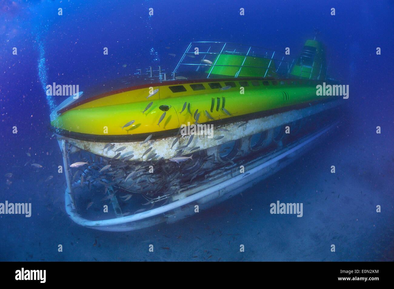 Yellow submarine on dive underwater, Tenerife Stock Photo