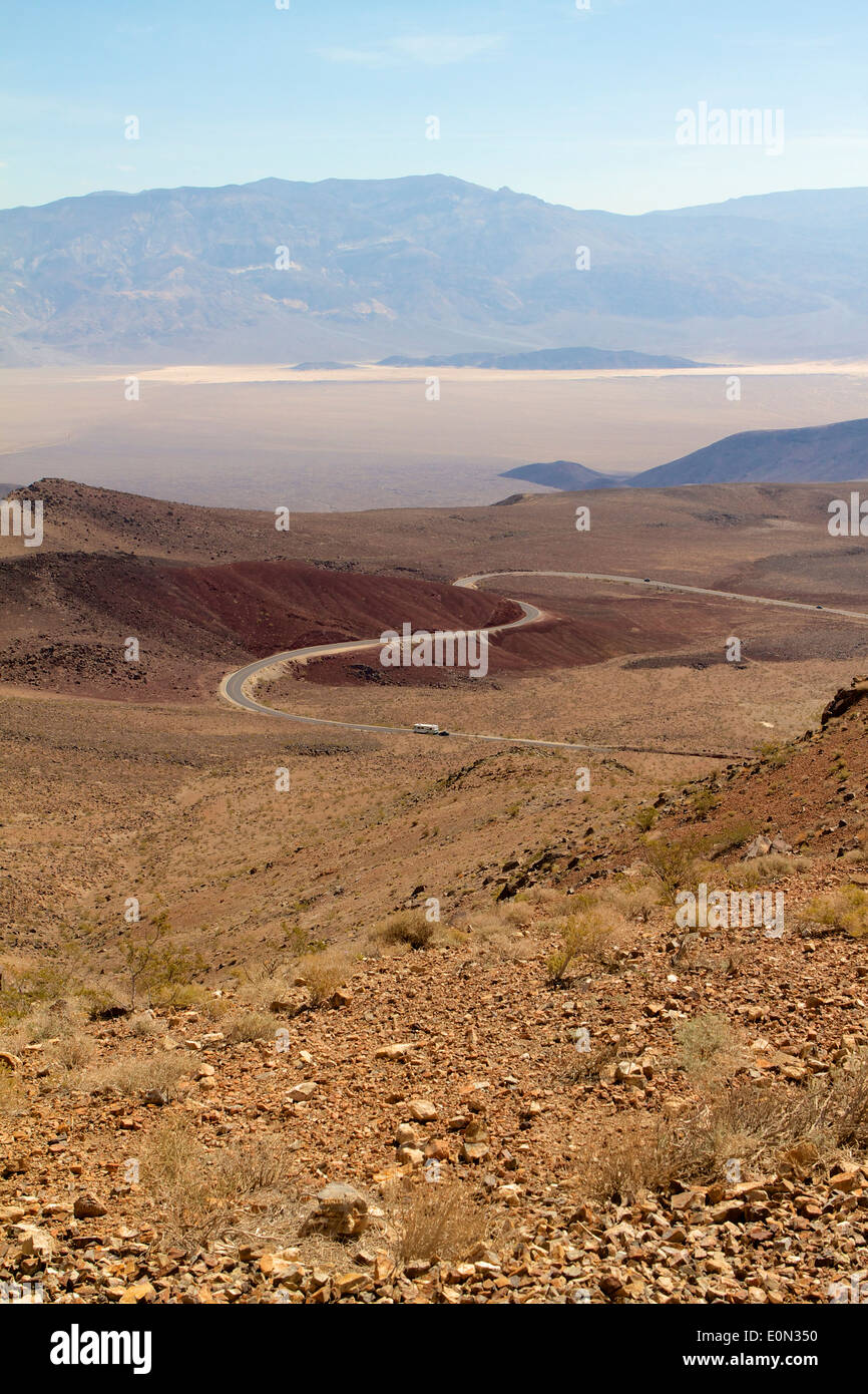 A winding desert road just outside death valley California - Stock Image