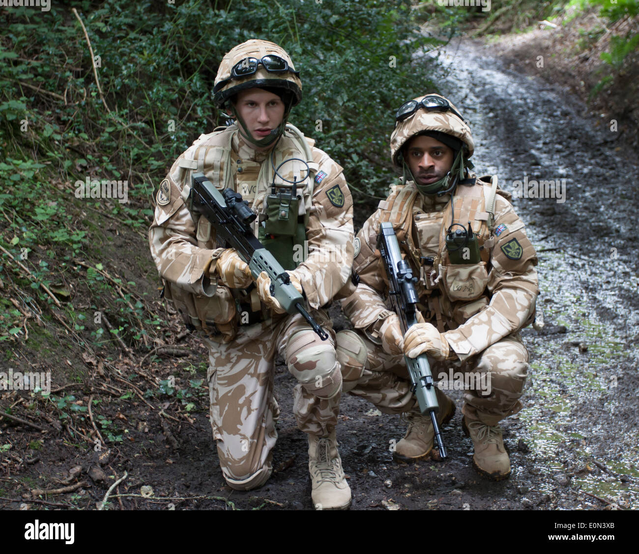 Soldiers in full British Army Uniform Stock Photo