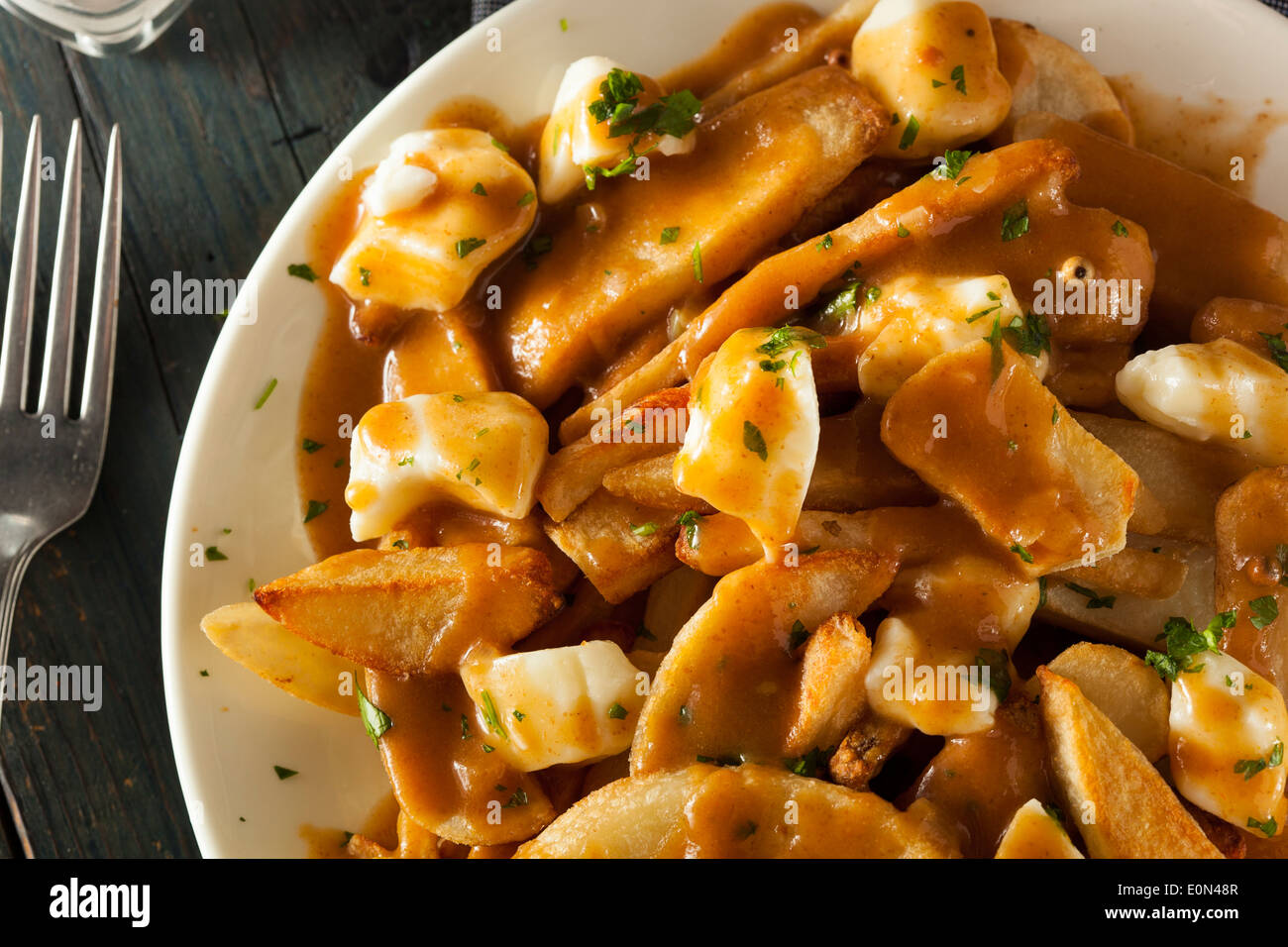 Unhealthy Delicious Poutine with French Fries and Gravy - Stock Image