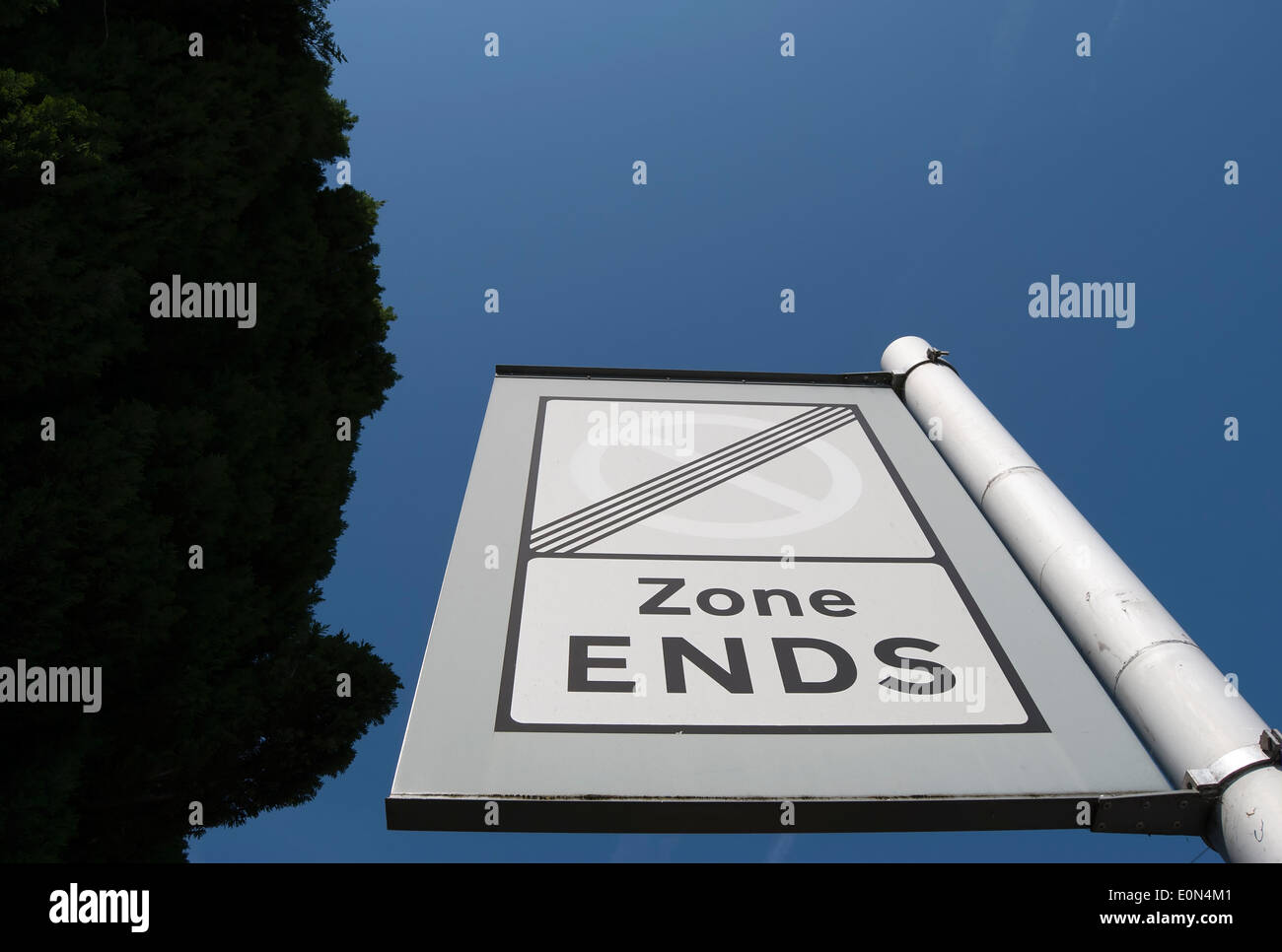 british road sign indicating end of  controlled parking zone Stock Photo