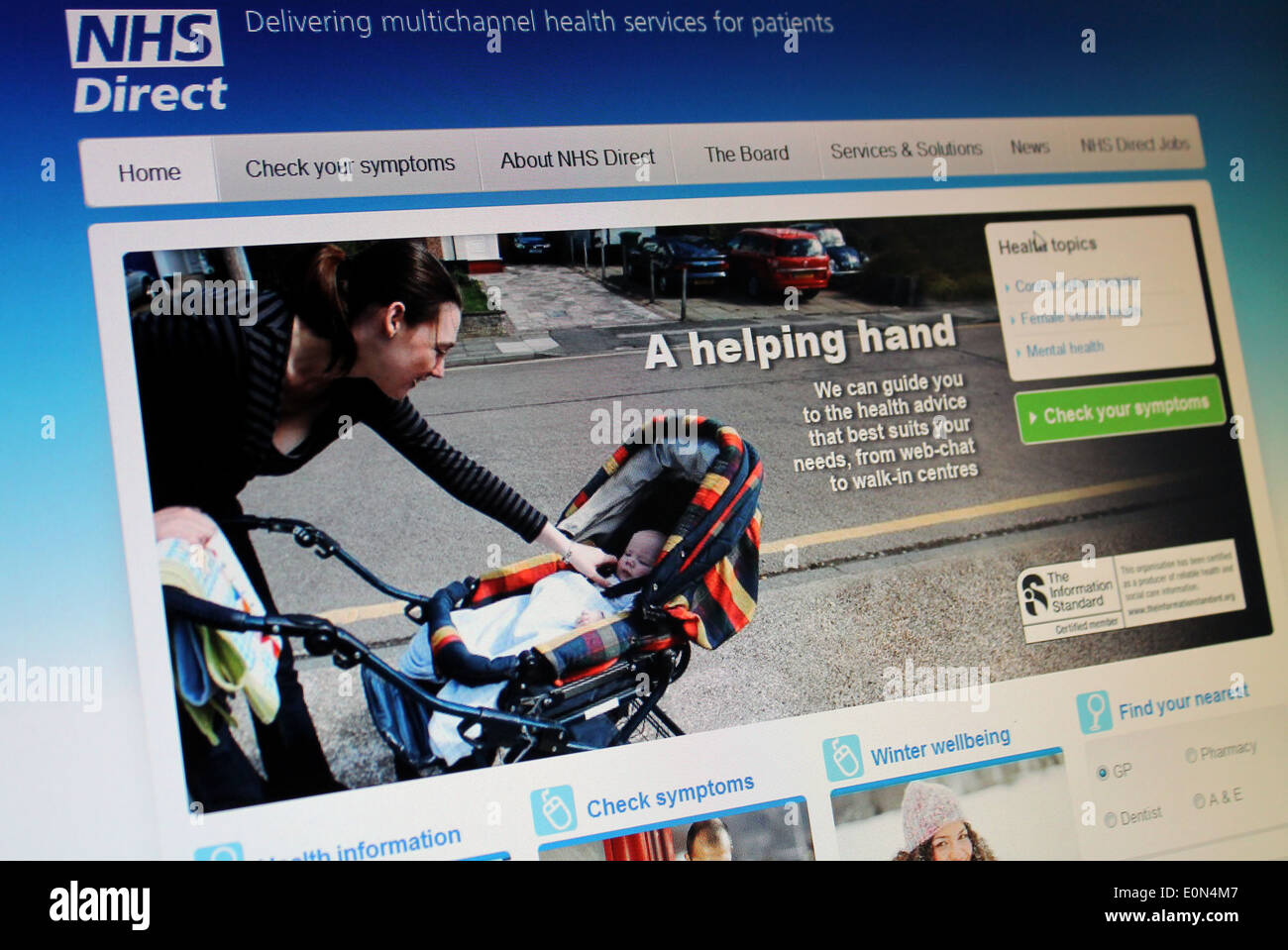 NHS Direct web page - Stock Image
