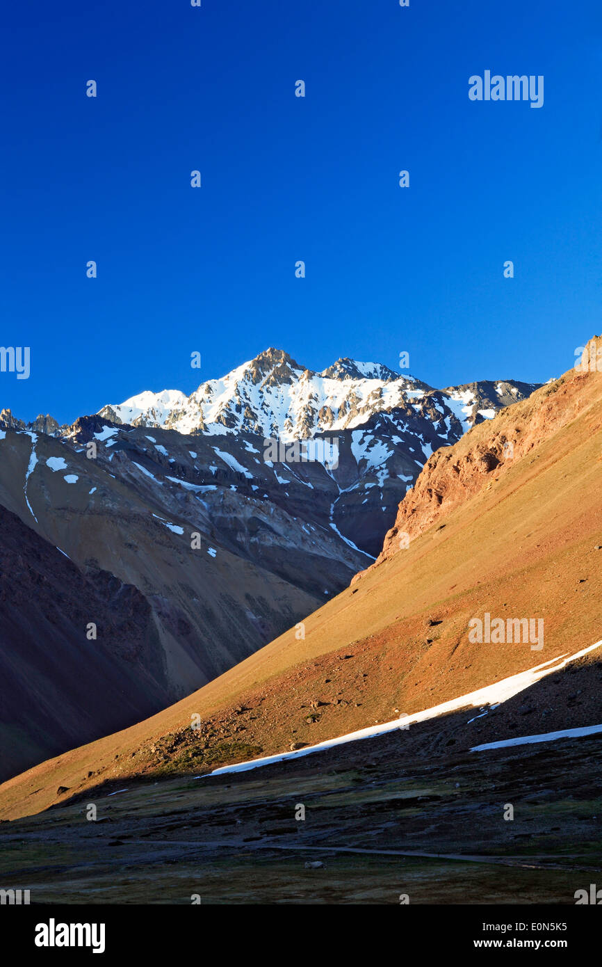 Snow-covered Andes Mountains from Aconcagua Provincial Park, Mendoza Province, Argentina - Stock Image