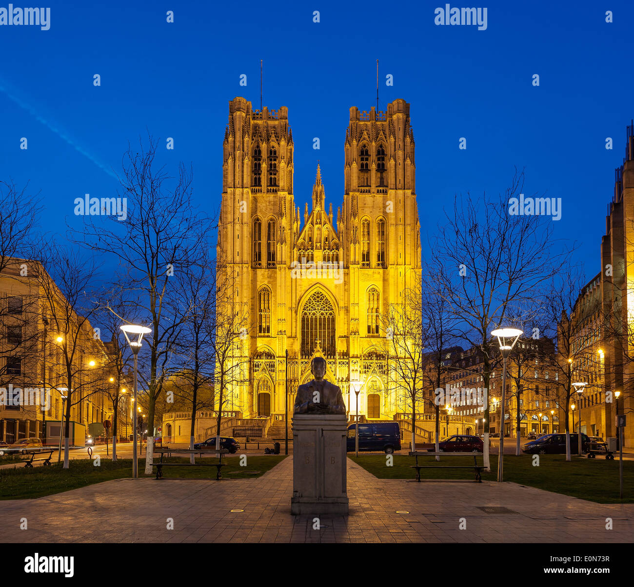 The Cathedral of St. Michael and St. Gudula is a Roman Catholic church on the Treurenberg Hill in Brussels, Belgium. - Stock Image