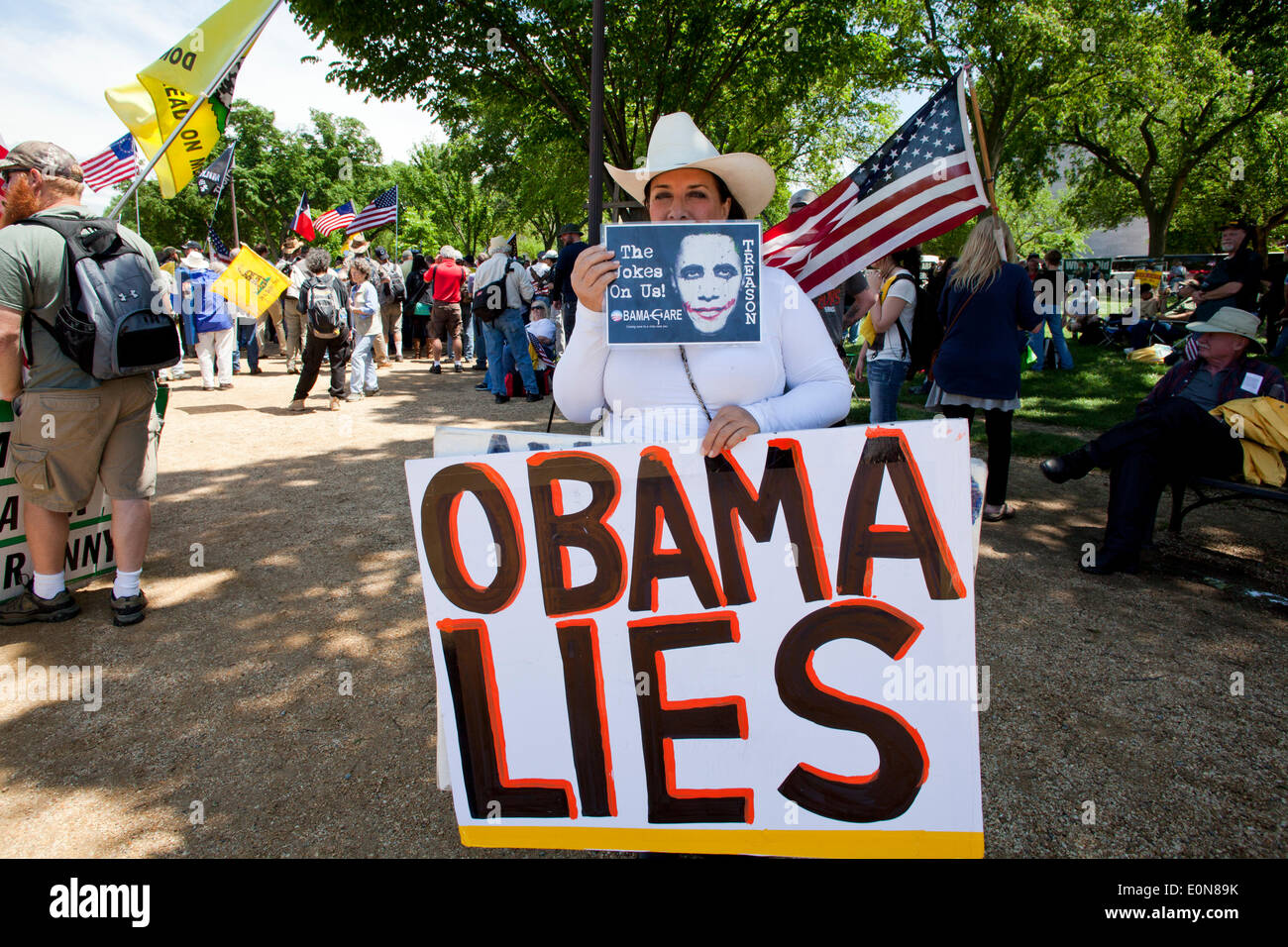 Washington DC, USA. 16th May 2014.   Members of Operation American Spring, backed by the Tea Party Nation, rally - Stock Image