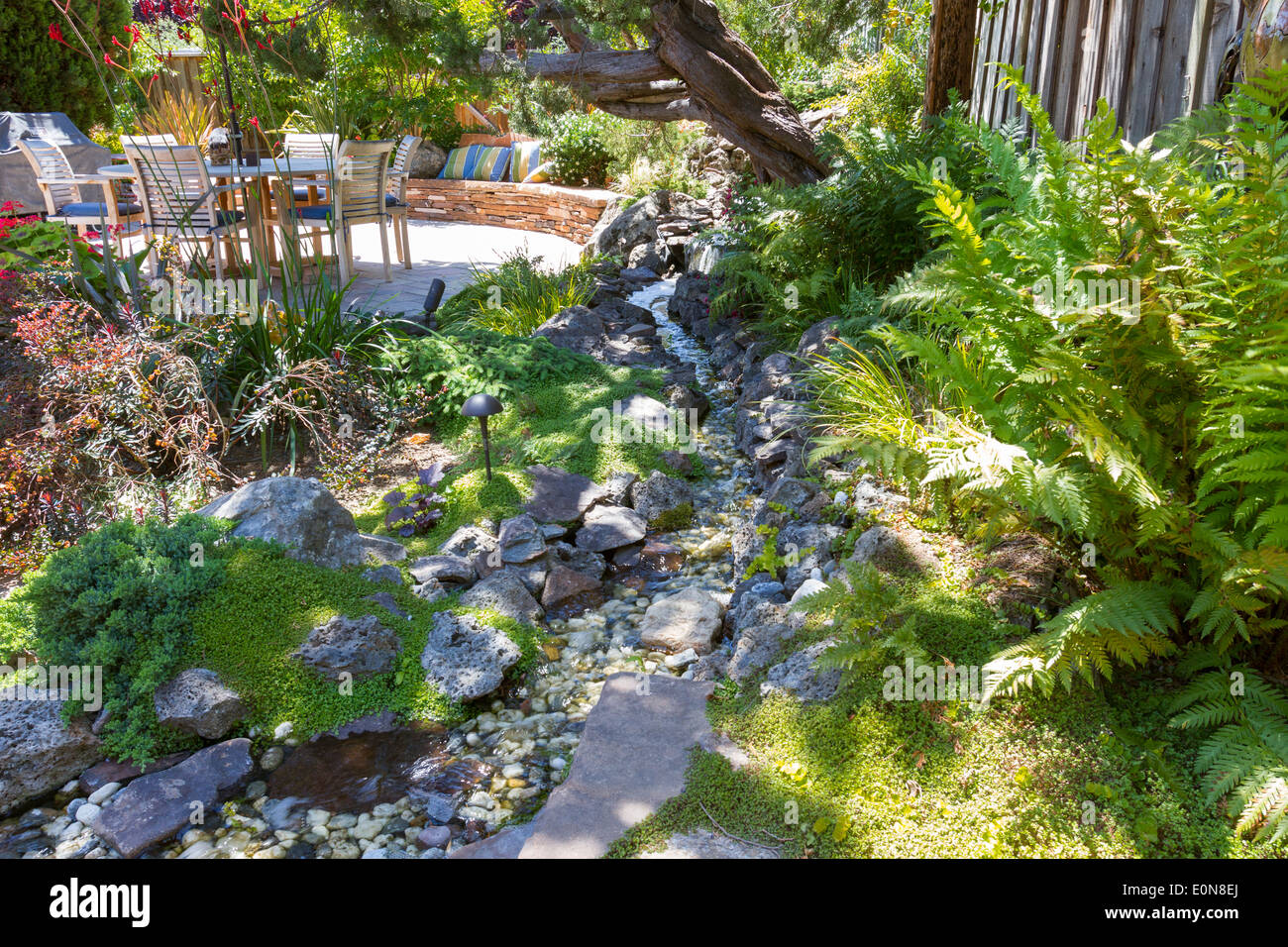 Water feature stream with lush foliage in a beautiful landscaped backyard with patio dining - Stock Image