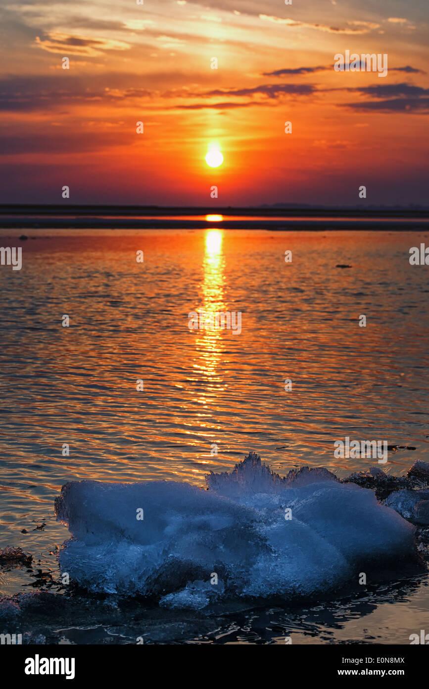 Sunset illuminates Lake Erie - Stock Image
