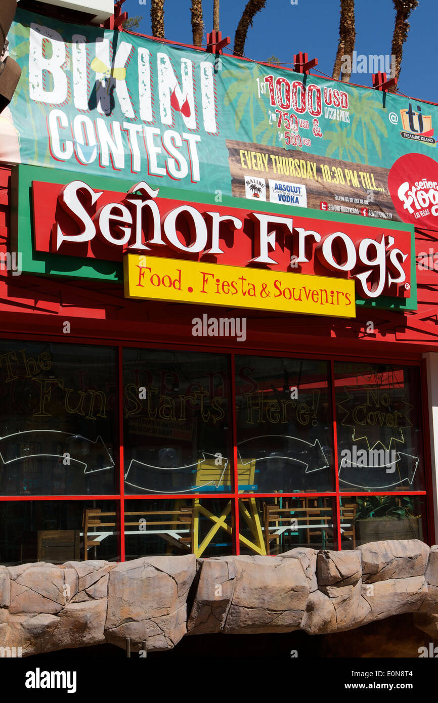 Senor Frogs Mexican party restaurant at the Treasure Island Hotel  on the Las Vegas strip . Las Vegas Nevada - Stock Image
