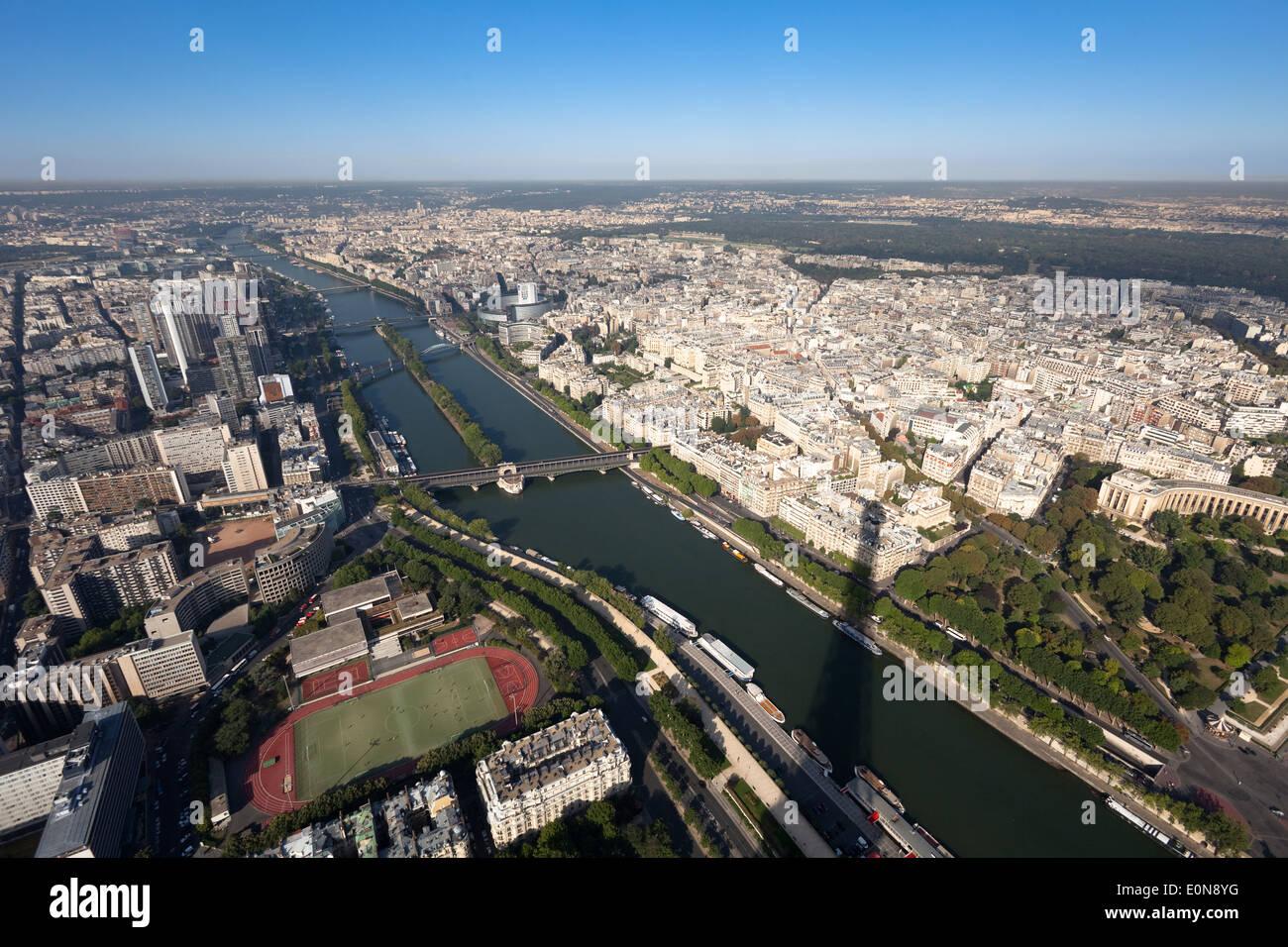 Aussicht vom Eiffelturm, Frankreich - Vista from Eiffel Tower, France, Paris Stock Photo