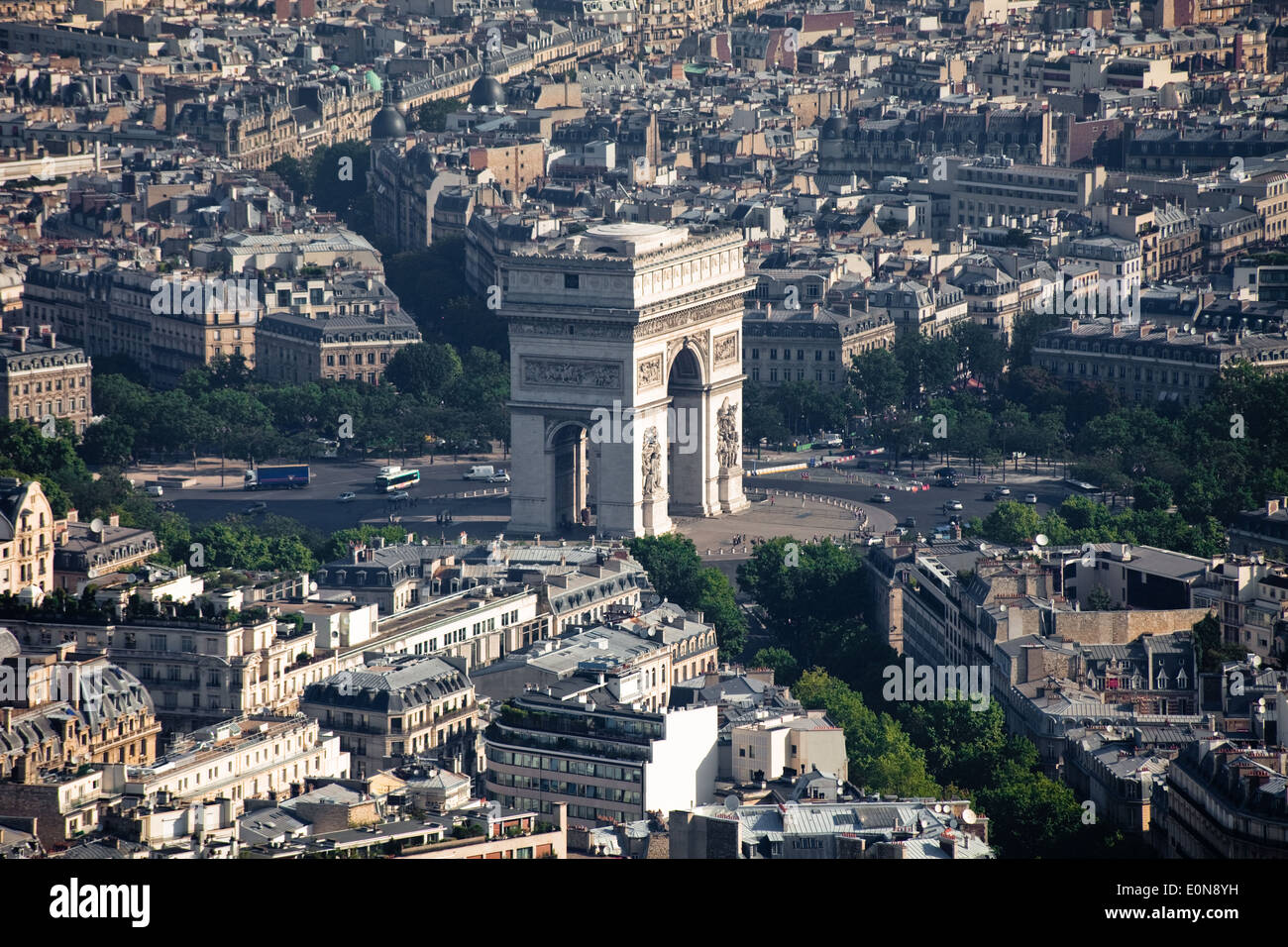 View from Eiffel Tower to Arc de Triomphe, Paris, France - Stock Image