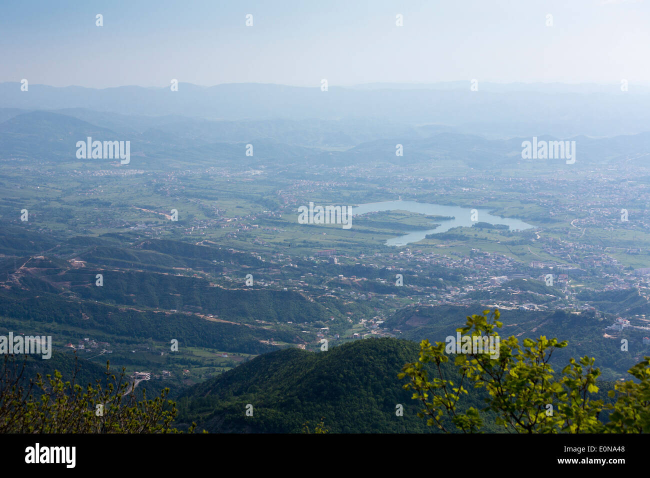 aerial view from Mount Dayti of  suburbs of Tirana, Albania - Stock Image