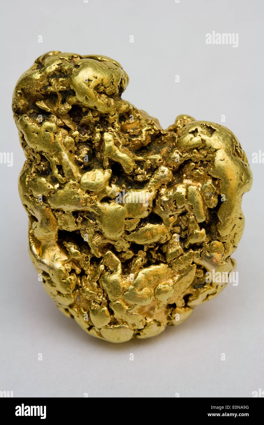 One Troy Ounce California (USA) Placer Gold Nugget - Natural Gold Specimen - Stock Image