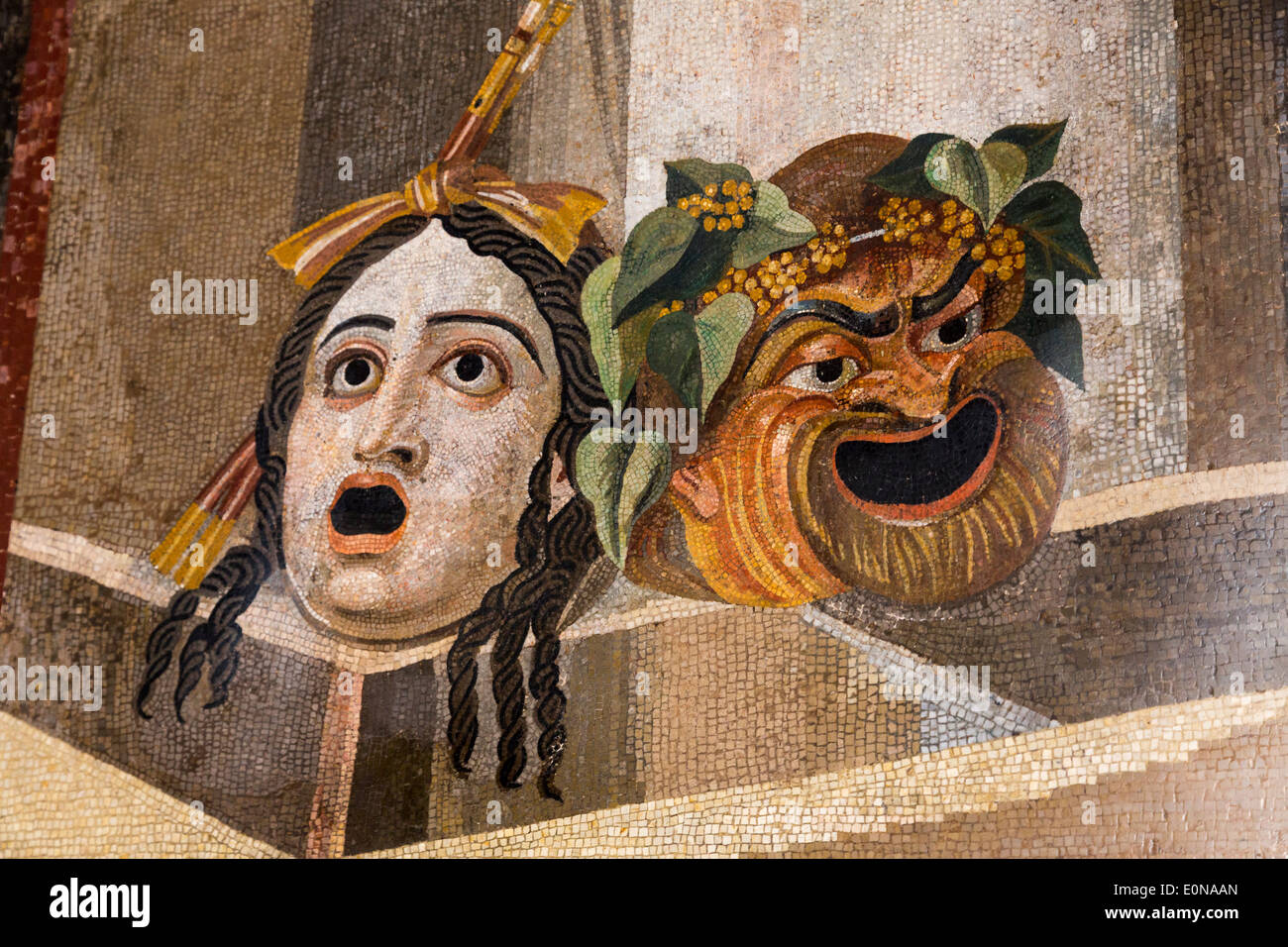 Mosaic with theatrical masks, Capitoline Museums, Rome, Italy - Stock Image