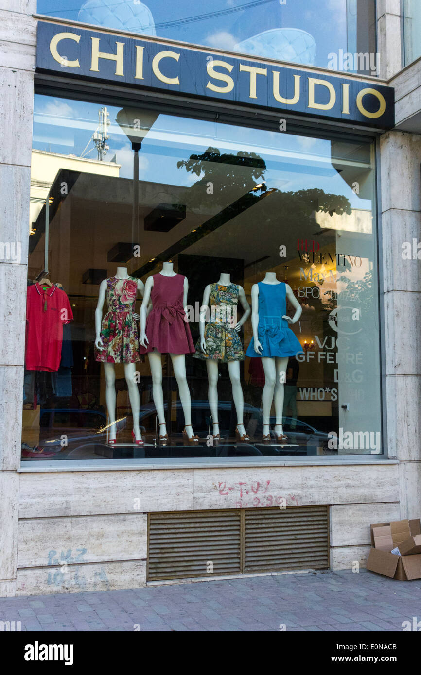 Chic Studio luxury brand clothing store, Blloku district, Tirana, Albania - Stock Image