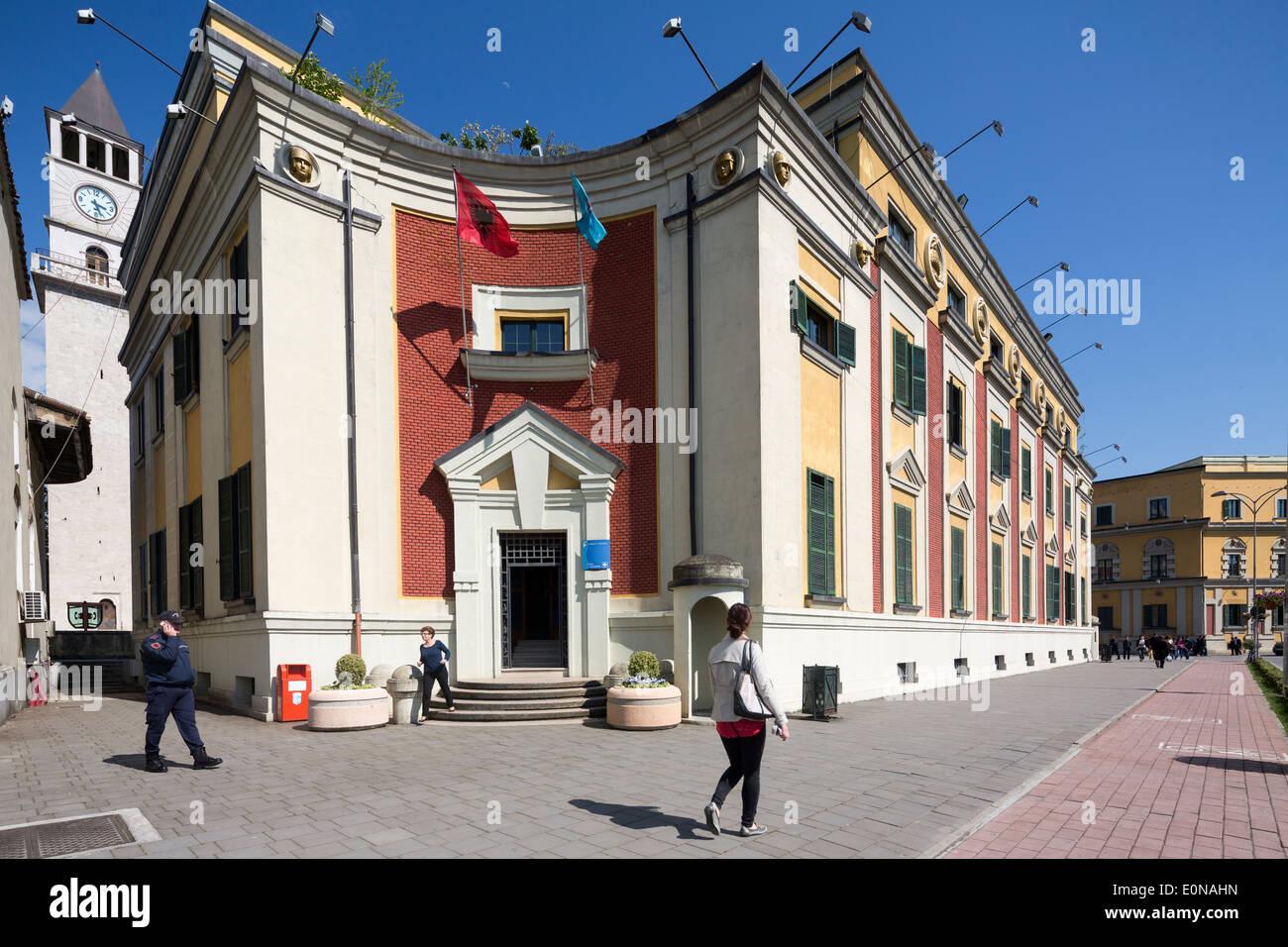 ministerial buildings around Skanderbeg Square, Tirana, Albania - Stock Image