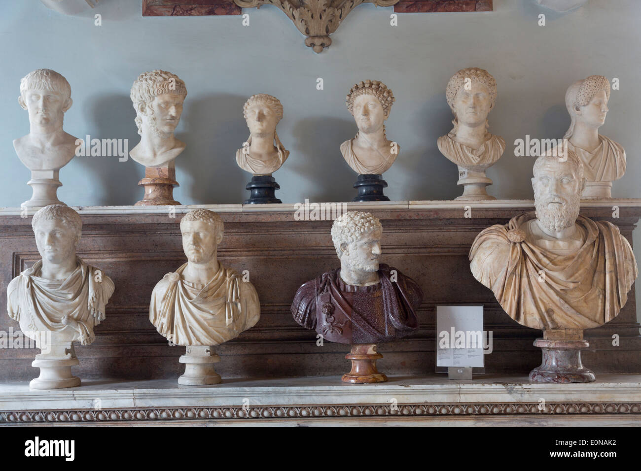 Portrait busts of Roman emperors, Capitoline Museums, Rome, Italy - Stock Image
