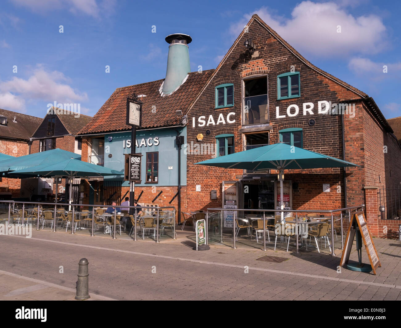 Old Isaac Lord ( Isaacs) restaurant and pub on the Quayside, Ipswich, Suffolk, UK - Stock Image
