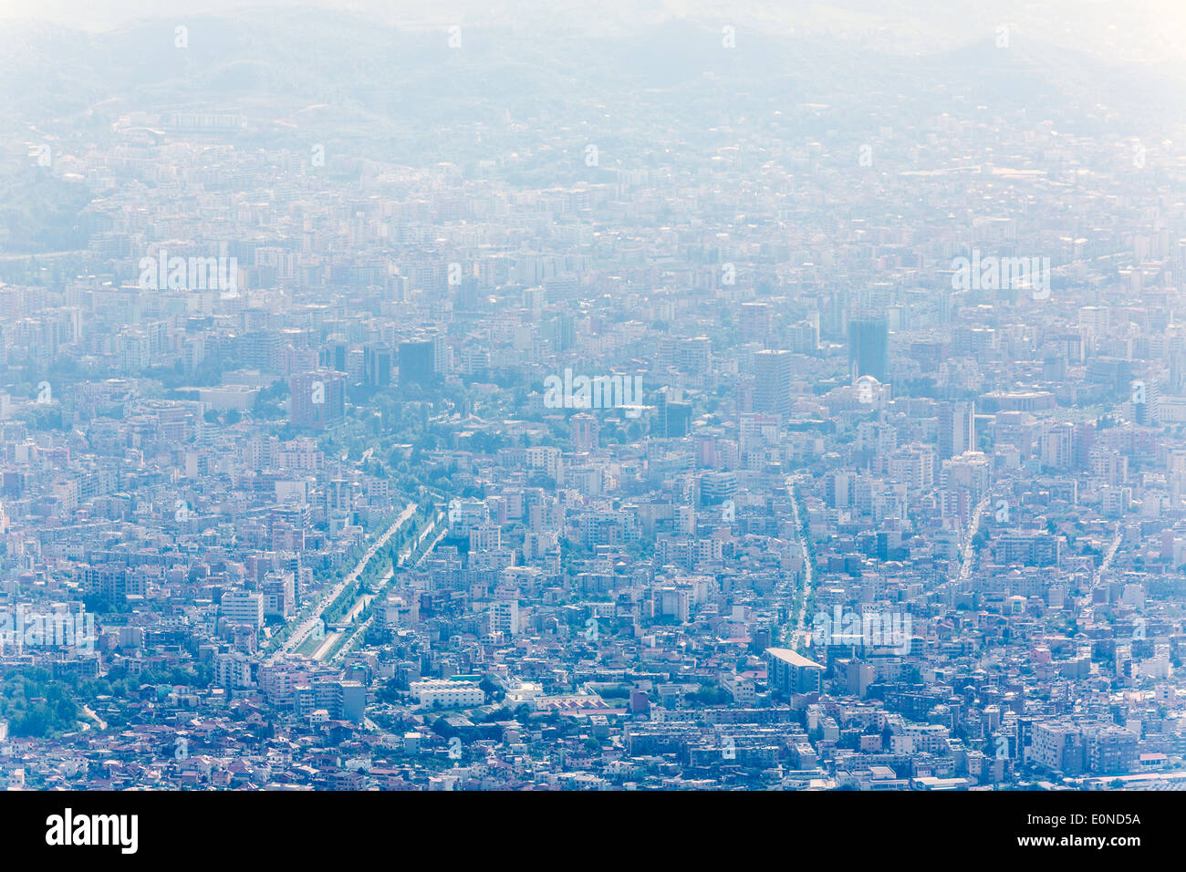 aerial view from Mount Dayti of Tirana, Albania - Stock Image