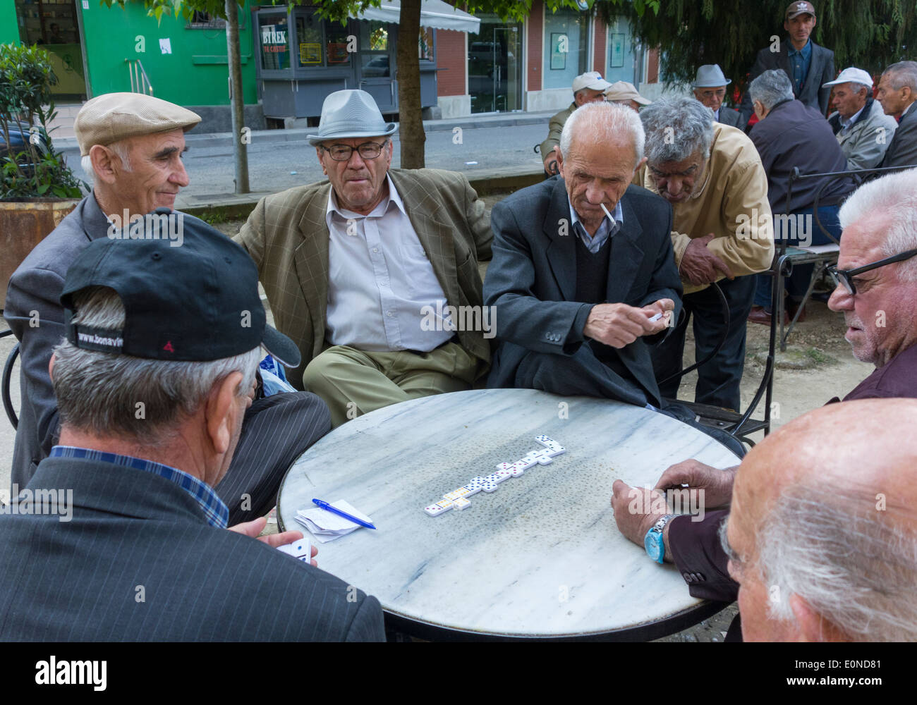 men playing dominoes, Tirana, Albania - Stock Image