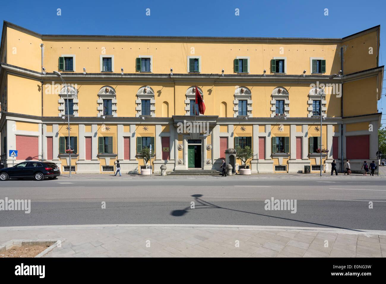 ministerial building around Skanderbeg Square, Tirana, Albania - Stock Image
