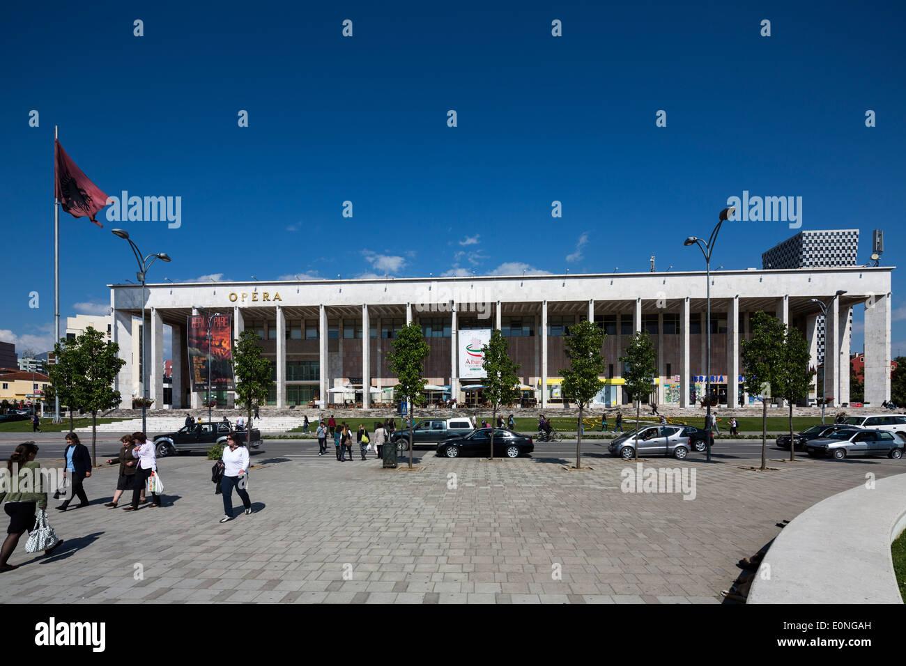 The Palace of Culture, Skanderbeg Square, Tirana, Albania - Stock Image