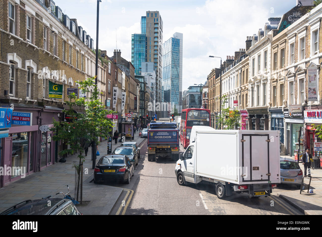 Bethnal Green Road going towards Shoreditch, East London,UK - Stock Image