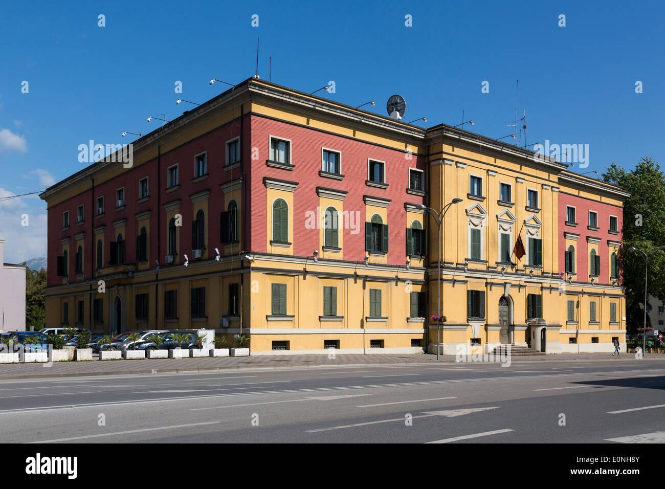 ministerial building near Skanderbeg Square, Tirana, Albania - Stock Image