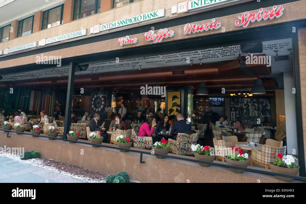 customers at a cafe, Tirana, Albania - Stock Image