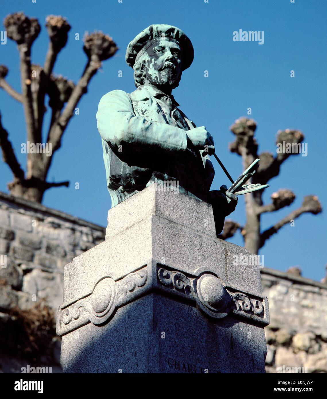 AJAX. AUVERS SUR OISE, FRANCE. - STATUE OF ARTIST CHARLES FRANCOIS DAUBIGNY, IMPRESSIONIST PAINTER. PHOTO:JONATHAN EASTLAND/AJAX - Stock Image