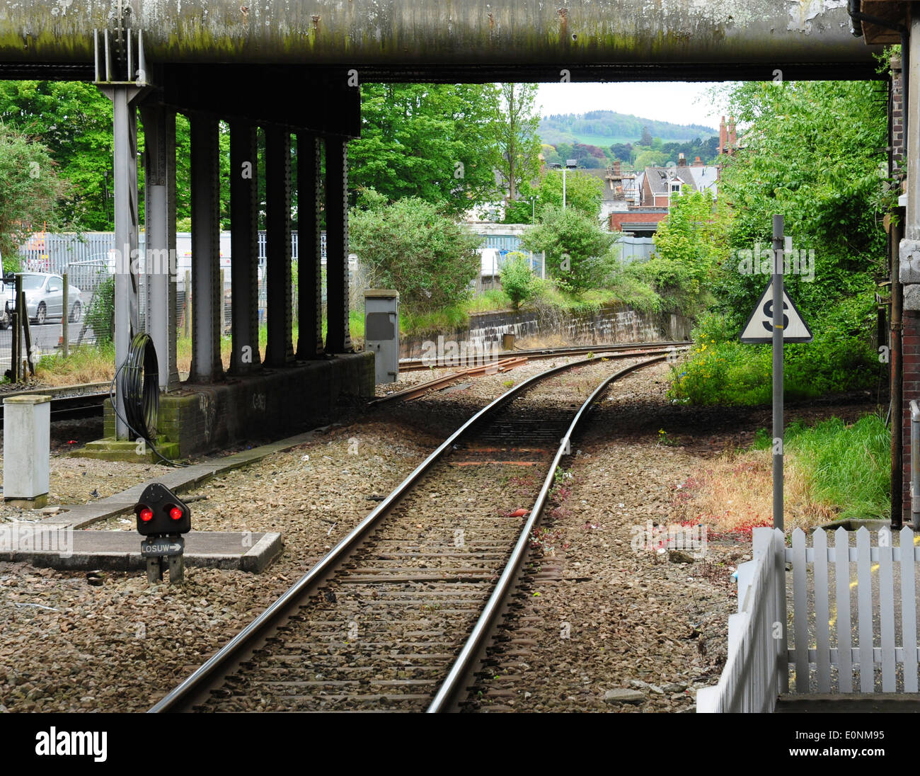 The steep incline from Exeter Central to Exeter St David's railway station, Devon, England, UK - Stock Image