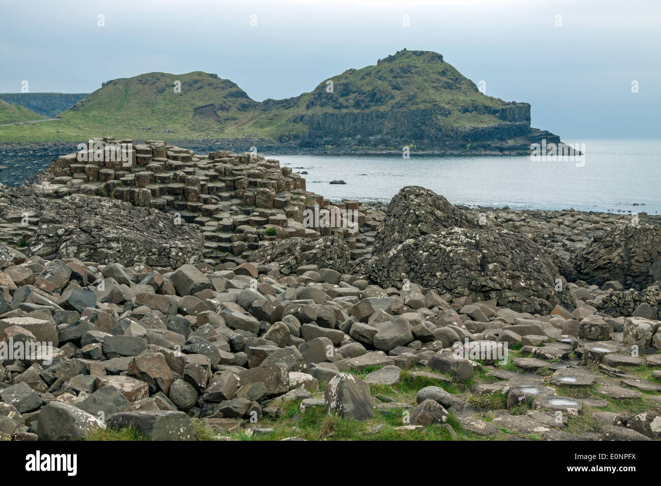 Giant's Causeway, a amous UNESCO World Heritage Site, situated on the Antrim coast of Northern Ireland, United Kingdom. - Stock Image