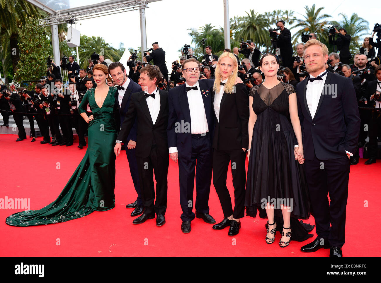 Cannes, France. 17th May, 2014. Cast members and guests arrive for the screening of the film Saint Laurent at the 67th Cannes Film Festival in Cannes, France, May 17, 2014. Credit:  Ye Pingfan/Xinhua/Alamy Live News - Stock Image